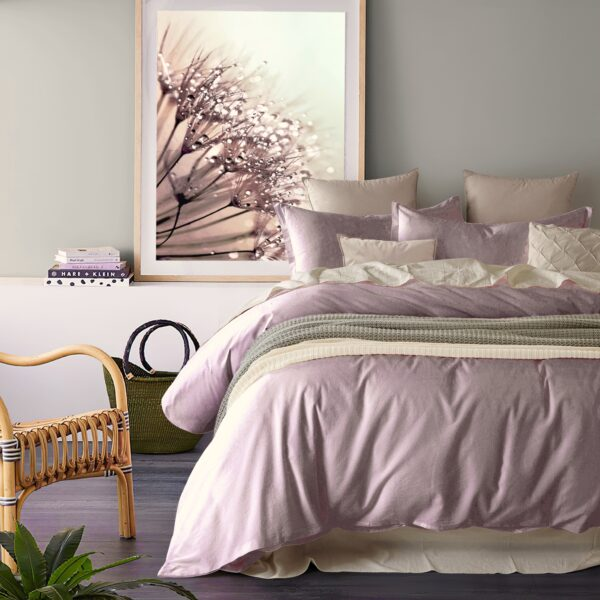 Stonewashed Cotton Casual Duvet Cover Set Relaxed Modern Style Bedding Natural Wrinkled Lived-in Look, Pink Mauve