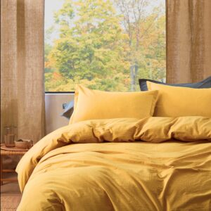 Stonewashed Cotton Casual Duvet Cover Set Relaxed Modern Style Bedding Natural Wrinkled Lived-in Look, Ocher