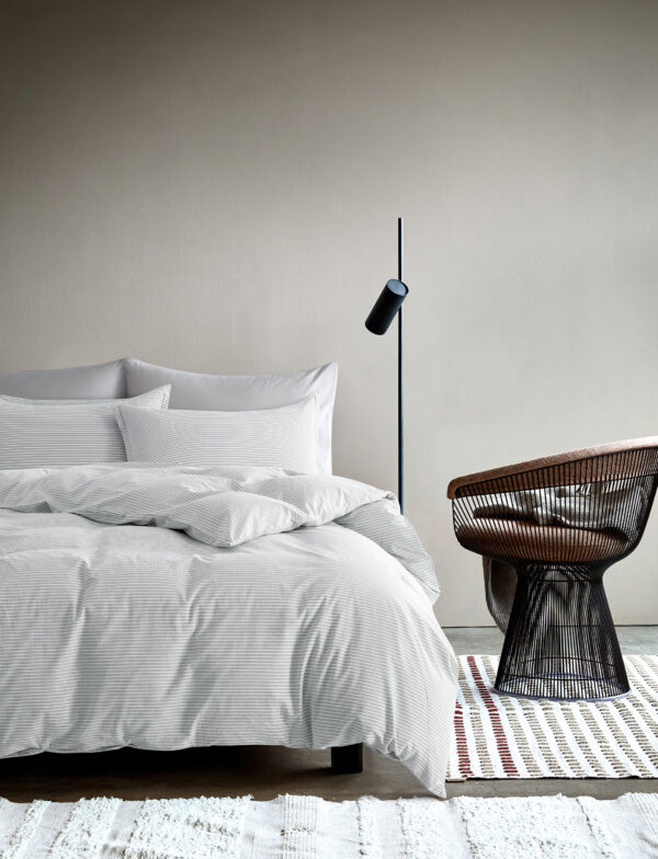 Washed cotton chambray light grey bedding