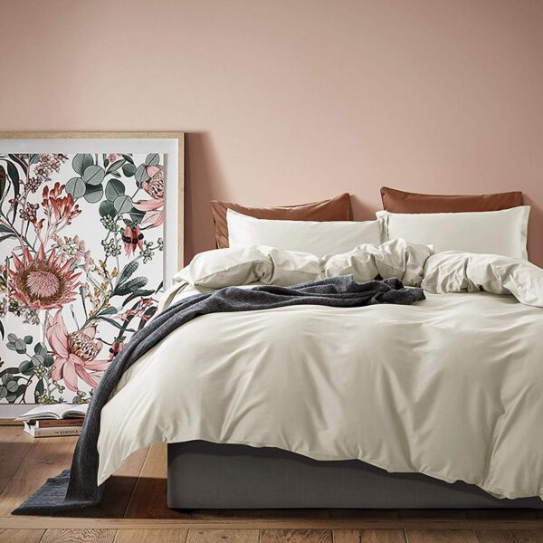 Solid Color Duvet Cover and Fitted Sheet Set 400 Thread Count Cotton Sateen – Bone