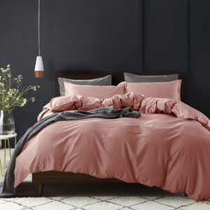 Solid Color Duvet Cover and Fitted Sheet Set 400 Thread Count Cotton Sateen – Clay