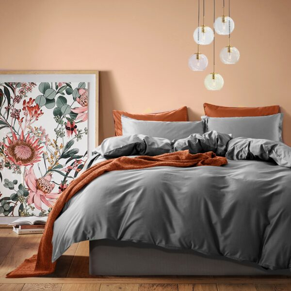 Solid Color Duvet Cover and Fitted Sheet Set 400 Thread Count Cotton Sateen – Charcoal