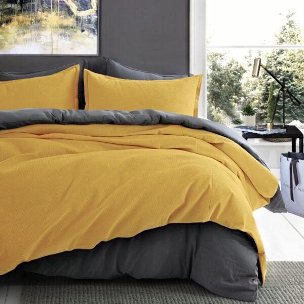 Corduroy Cotton Luxury Duvet Cover Set – Ocher