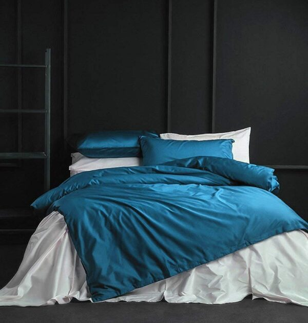 Solid Color Duvet Cover and Fitted Sheet Set 400 Thread Count Cotton Sateen – Turkish Tile