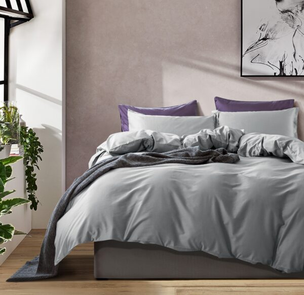 Solid Color Duvet Cover and Fitted Sheet Set 400 Thread Count Cotton Sateen – Medium Grey