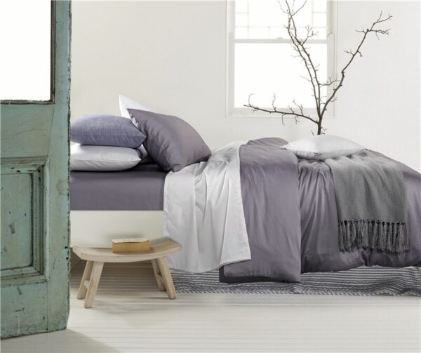 Solid Color Duvet Cover and Fitted Sheet Set 400 Thread Count Cotton Sateen – Dusty Lilac