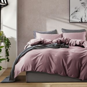 Solid Color Duvet Cover and Fitted Sheet Set 400 Thread Count Cotton Sateen – Vintage Grape